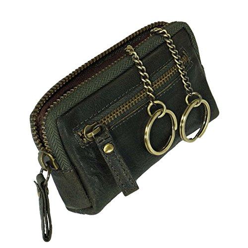 Branco sportliche Vintages-Leder Schlüsseltasche Schlüsseletui mit Metallreißverschluss, Schlüsselmappe Schlüssel Etui Dark Green GoBago