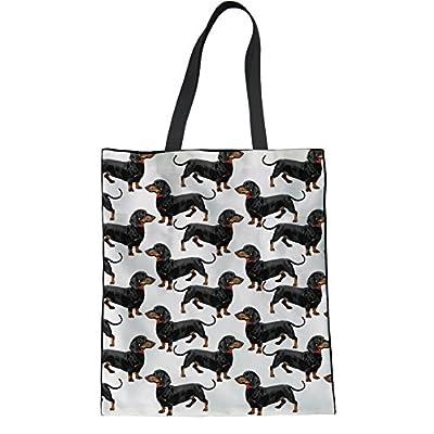 Aoopistc Women's Tote Bag Cute Puppy Black Dachshund Dog Printed Cotton Handbag Large Capacity Reusable Top-handle Bag Grocery Canvas Foldable Eco Shopping Bags Linen Schoolbag