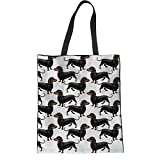 Coloranimal Outdoor Shopping Bag for Women Girls Funny Animal Dachshund Puzzle Lightweight Grocery Pouch Heavy Duty Linen Tote Purse Handbag