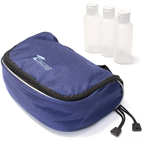 ToiletTree Products Toiletry Bags (Blue w/ 3 TSA Approved Bottles)