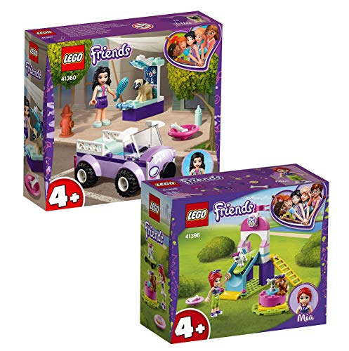 LEGO Friends 2-teiliges Set: 41360 Emmas Mobile Tierarztpraxis + 41396 Mia auf dem Welpenspielplatz