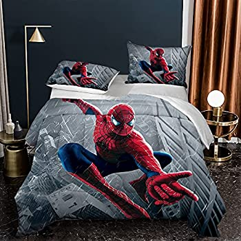 Spiderman Comforter Set Quilt Set Twin,Gray Comforter Set Spiderman Superhero Bedding for Kids Boys Girls Teens Toddlers