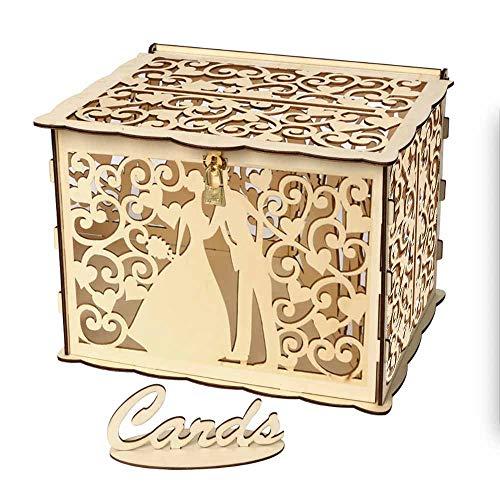 Boîte à Cartes de Mariage en Bois, Boîte aux Lettres de Mariage avec Serrure, Boîte de Mariage en Bois avec Couvercle, Boîte de Carte de Mariage, pour Mariages,Fêtes de Fiançailles,Douches Nuptiales