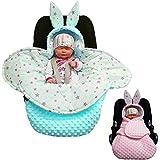 Sweet Baby - Manta universal para capazo, por ejemplo, Maxi Cosi, asiento de coche, cochecito, cuna de bebé, etc. gris Mint Stars Mint Grey
