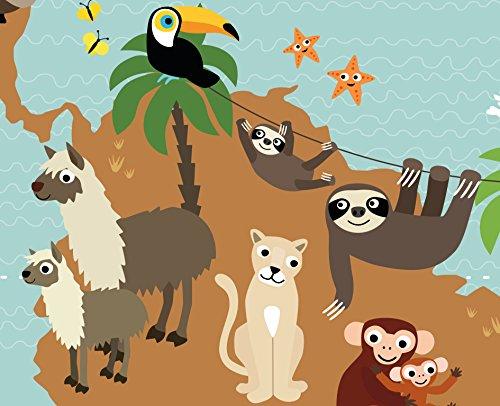 viilou Weltkarte für Kinder Poster XXL Bilder Kinderzimmer Poster Kinderweltkarte