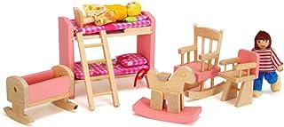 Maison de poupée Meubles Jouet 1 12 en Bois Echelle Miniature Set de Cuisine Maison de poupées Bricolage Accessoires Rose