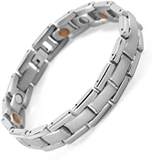 N+NITROLUBE Magnetic Therapy Bracelet for Men Women Silver Stainless Steel Bracelets 7.87 inches Elegant Magnetic Jewelry