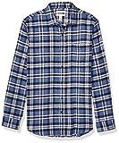 Amazon Essentials Men's Slim-Fit Long-Sleeve Flannel Shirt, Blue, Medium