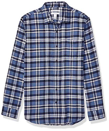 Amazon Essentials Men's Slim-Fit Long-Sleeve Flannel Shirt, Blue, Large