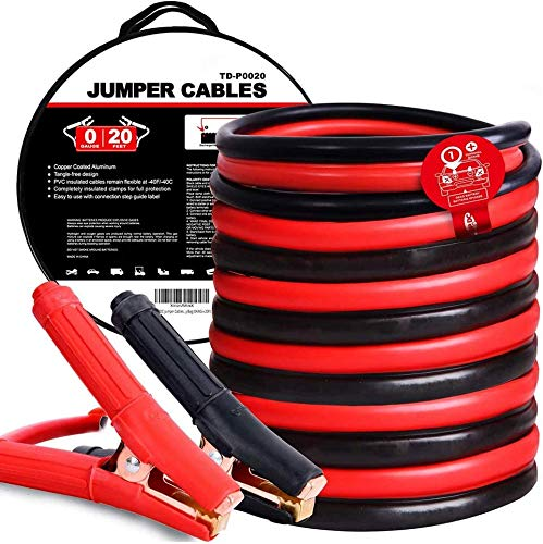 HPDAVV 0 Gauge 20 Feet 900Amp 100% Copper Jumper Cables Heavy Duty Booster Cables with Carry Bag, 4 wires