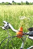 meindekoartikel Lifestyle Fahrradvase Frieda (orange) - Der Frühling kommt Fahrradlenker Blumenvase Fahrradtour H 9 cm