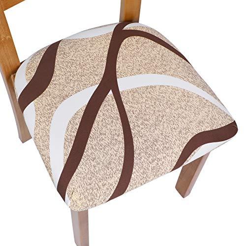 laamei Fundas de Asiento para Sillas Fundas de Sillas de Comedor Elasticas 4 6 Piezas Lavable Universal Cubierta de Asiento para Silla para Restaurante Hotel Hogar Fiesta(Beige/Cafe,6 Piezas)