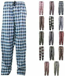 """Men's Pyjama Bottoms 50% Cotton Woven Plaid Lounge Pants, SIZE-L(WAIST32-38"""", LENGHT73-108CM) 2 SIDE POCKETS, BUTTON FLY, ..."""