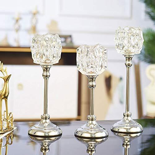 WZNING Home Decoration Crystal Metal Candle Holder luxe diner bij kaarslicht Props Amerikaans Eettafel Decoration Europese kaarshouder Alloy kandelaar te sturen Kaarsen (Size : 03(36.5 * 11cm))