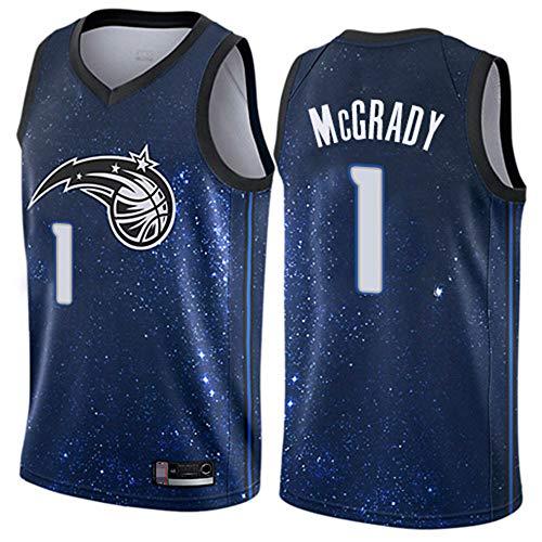 YZQ Camisetas De Baloncesto para Hombre, Orlando Magic # 1 Tracy McGrady Uniformes De Baloncesto De Verano De La NBA Camisetas Sin Mangas Sueltas Camisetas Y Chalecos Casuales,Azul,S(165~170CM)