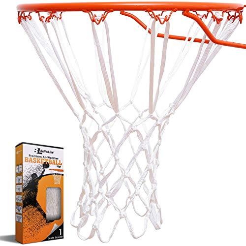 Better Line® Premium Qualitäts-Profi-Basketballnetz für alle Wetterbedingungen Strapazierfähig Dickes Netz, 12 Schlaufen (Weiß)