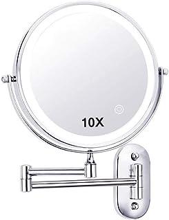مرآة مكبرة لمستحضرات التجميل بمصابيح LED للتثبيت على الحائط، مرآة مكبرة لمستحضرات التجميل 360 درجة دوارة قابلة للتمديد على...