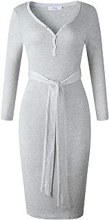 Joteisy Women's V Neck Tie Belt Floral Print Wrap Dress, Casual Long Sleeve Knee Length Dress