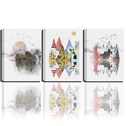 Mural impreso sobre lienzo de montaña abstracta geométrica abstracta, obra de arte abstracta para sala de estar o dormitorio, 30 x 40 cm, 3 paneles para decoración de pared para el baño