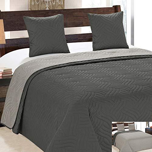 Euromat Zweiseitige Tagesdecke Gesteppt Bettüberwurf 3Tlg. 180x220 +2 Kissenbezüge Vigo Beige Grau Ecru Dunkelgrau Silber 11