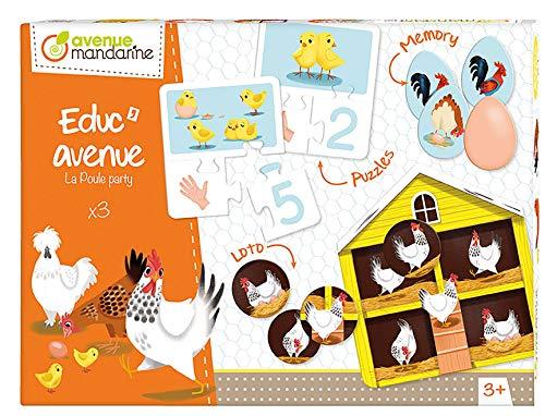 Avenue Educ' avenue mandarine JE515C set met 3 spellen (puzzel, fotollotto, geheugen) in 1, ideaal voor kinderen vanaf 2 jaar, 1 set Boerderij Multicouleurs