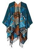 Urban CoCo Women's Printed Tassel Open front Poncho Cape Cardigan Wrap Shawl (Series 4-Blue)