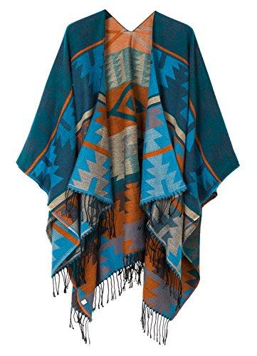 Urban CoCo - Poncho para mujer con borla impresa y frente abierto, Serie 4-azul, Talla única