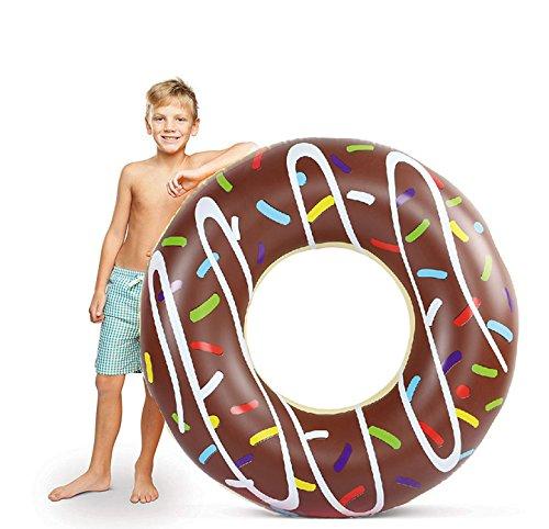 ZOLTA XXL Aufblasbarer Donut mit Biss Schwimmring Schwimmreif Schwimmkissen Pool, mit 1x aufblasbaren Ø 120cm (Braun Donut)