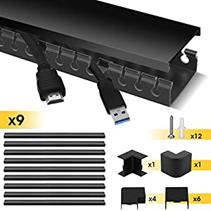 Stageek Cable Raceway Kit, Cable Management System Kit Open Slot Wiring Raceway Duct with Cover, On-Wall Cable Concealer Cord Organizer to Hide Wires Cords for TVs, Computers - 9x15.4inch, Black