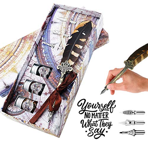 GC Quill caligrafía Penna Set Escribir Pluma antigua con 4 puntas y 3 botellas