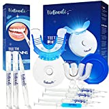 Viebeauti Teeth Whitening Kit with LED Accelerator Light (3pcs 5ml Teeth whitening Gel, 1pc 3ml remineralizing Gel), Teeth Whitening Pen (3pcs), Teeth Whitening Gel with 35% Carbamide Peroxide
