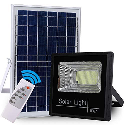 Faretto solare da esterno con 225 LED ad alta luminosità, 6000 mAh, con pannello solare, luce controllata, IP67, impermeabile, lampada solare da esterno per giardino