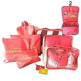 HONGCI 8 Set de Organizador de Equipaje, Bolsas de Equipaje - Organizadores de Viajes Cubos de Embalaje, Bolsas de compresión de Equipaje, Bolsa en el Organizador de Bolsa para la Ropa (Sandía Roja)