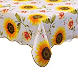 Waterproof Sunflower Tablecloth Rectangle Manteles De Girasoles Yellow Vinyl Table Cloth Fabric Cover Floral for Kitchen Picnic Party Fiesta 60x104 Inch