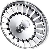 Tomario Colador de fregadero de cocina de acero inoxidable grueso para fregadero de cocina, diámetro del agujero 78 84 mm (84 mm, plateado)