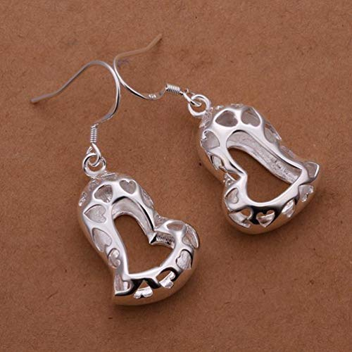Small and Elegant Hollow Three-dimensional Crooked Heart Earrings Silver Drops Water Drops Simple Earrings Women/Stainless Steel/Anti-allergic/Silver Flashing,Colour:As Show Bracelets Earrings R