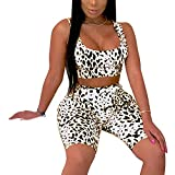 Women's Sexy Bodycon 2 Piece Outfits Crop Top Shorts Pants Jumpsuit Romper Set White XL