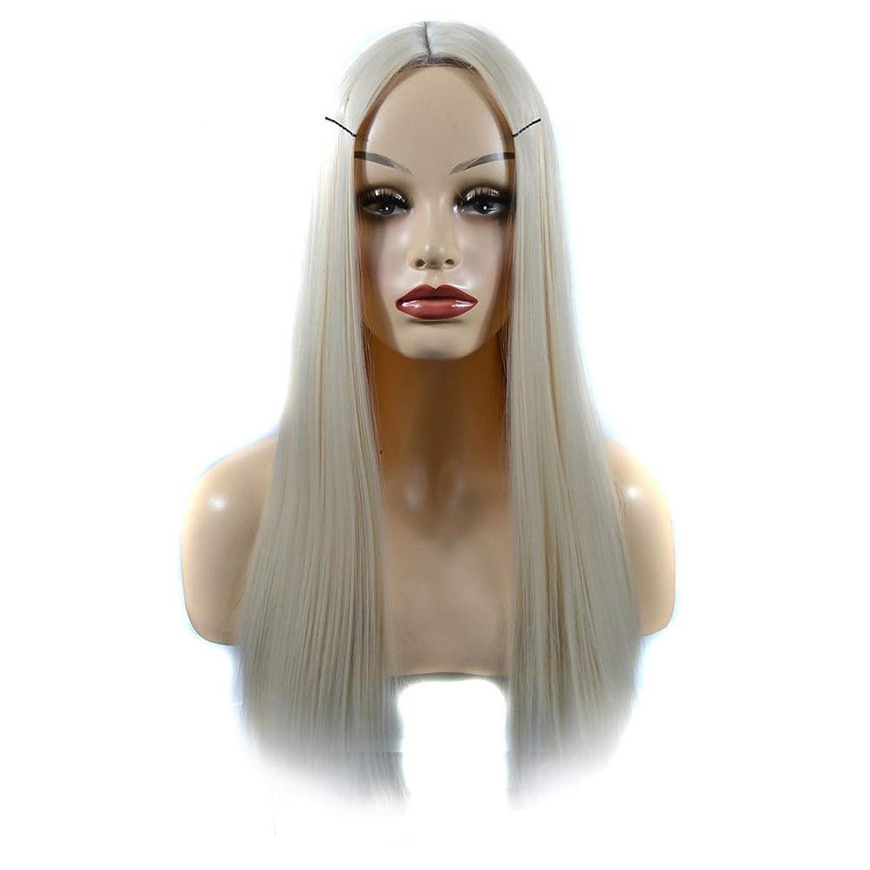 発揮する中絶美的YESONEEP 女性のための人工の乳白色のかつらかつらオンブルリアルな自然なストレートヘアパーティーウィッグ (色 : Milky white, サイズ : 60cm)