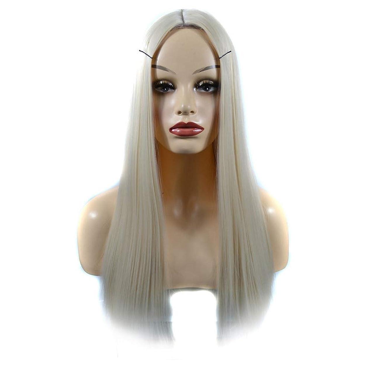 肘柔らかい衝突コースHOHYLLYA 女性のための人工の乳白色のかつらかつらオンブルリアルな自然なストレートヘアパーティーウィッグ (色 : Milky white, サイズ : 60cm)