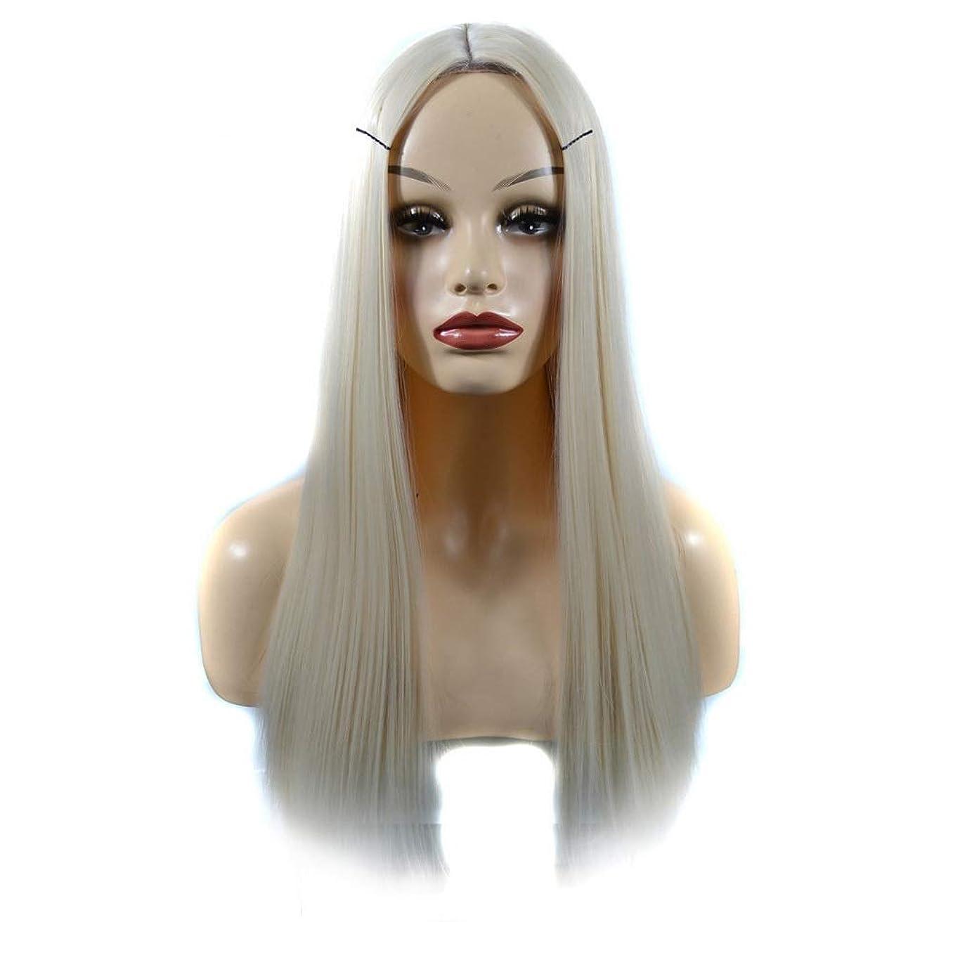イースターしゃがむインスタンスHOHYLLYA 女性のための人工の乳白色のかつらかつらオンブルリアルな自然なストレートヘアパーティーウィッグ (色 : Milky white, サイズ : 60cm)