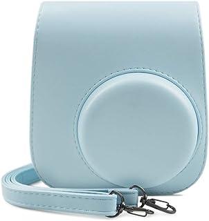 Fuji Instax Mini 11 Hülle, MUZIRI KINOKOO Schutzhülle für Fujifilm Instax Mini 11 Tasche Einfarbige Tragetasche PU Ledertasche mit Fotoaufklebern, Blau