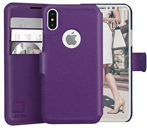 LUPA iPhone X Wallet Case -Slim & Lightweight iPhone X Flip Case with Credit Card Holder - iPhone 10 Wallet Case for Women & Men - Faux Leather i Phone Xs Purse Cases with Magnetic Closure – Purple