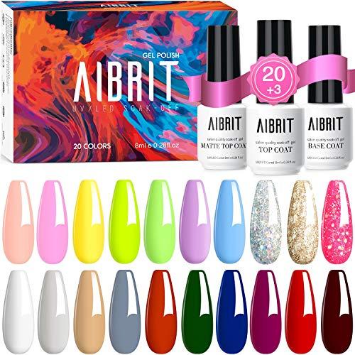 Aibrit 23 Pcs Gel Nail Polish Kit, Soak Off Nail Gel Polish Pastel Nail Polish Neon Gel Polish Starter Kit with Glossy & Matte Top Coat and Base Coat