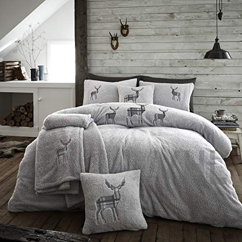 Gaveno Cavailia Premium Stag Embroidery Teddy Fleece Duvet Set with Matching Pillowcases, Fluffy Thermal Quilt Cover, Super Soft & Cosy Linen, Silver, Single Bedding, 100% Polyester
