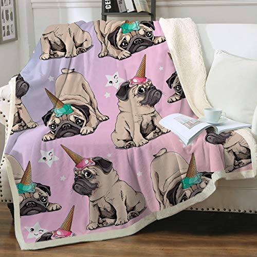 "Sleepwish Plush Blankets for Teen Girls Puppy Pug Fleece Sherpa Blanket Pink Fuzzy Blanket with Dogs Pug Fluffy Blankets Warm Plush Bed Sofa Couch Throw Unicorn Pug Gifts for Kids Women (50"" X 60"")"