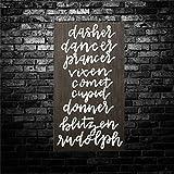 BYRON HOYLE Dasher Dancer Prancer Vixen - Letrero de madera para colgar en la pared, diseño de granja inspirador, decoración rústica para sala de estar, guardería, dormitorio, porche, pared de galería