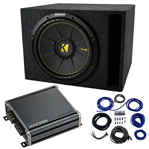 Single 12 Kicker CompC Sub Package with Kicker 46CXA400.1 Amp & Vented Enclosure