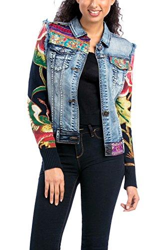 Desigual Damen CHAQ_Ethnic Deluxe Jacke, Blau (Denim Medium Wash 5053), 42 (Herstellergröße: 44)