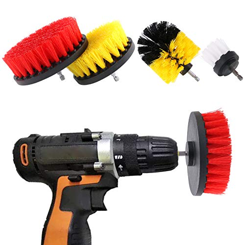 Keadic 4 Pieces Grout Cleaner Power Scrub Brush Drill Attachment Kit Drillbrush Perfect for Cleaning Kitchen Bathroom Tub Pool Grout and Much More
