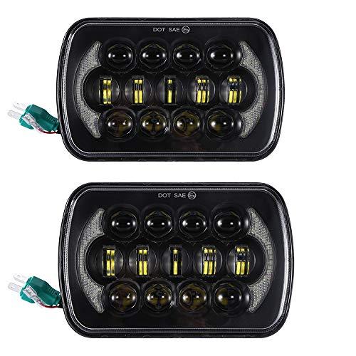 SXMA Faro da lavoro a LED, 12,7 x 17,8 cm, 15 x 18 cm, con luci LED Cree con DRL, ricambio per auto (1 coppia)